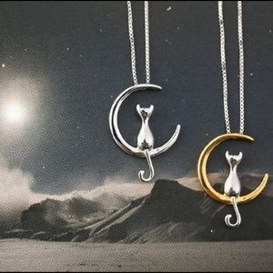 Jewelry - New fashion cat moon 🌙 pendant necklace gold/silv